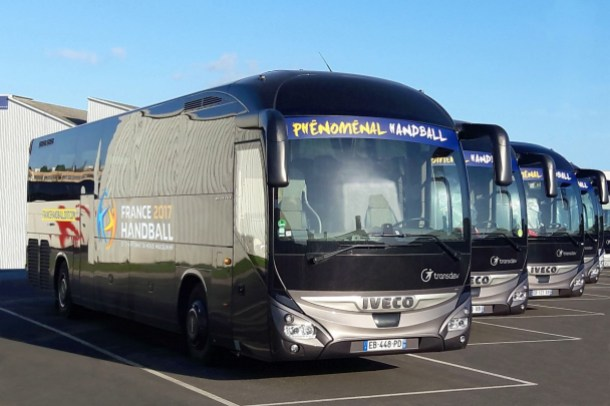 """(""""copyright: Transdev""""): The Transdev Group's 44 Magelys sporting a special sticker in the colours of the 25th Men's World Handball Championship."""